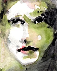 Female Portrait, Green and Black Watercolor Print, Olive Green, Giclee Print From Original Watercolor, 8 x 10 Wall Art Print, Free Shipping, Fine Art Print This open edition giclee print titled Innocent from my original watercolor measures 8 x 10 and is printed on heavyweight matte photo paper Its one of my favorites - I love the greens as the main colors! Title: Innocent Print Size: 8 x 10 Medium: Ink Original Medium: Watercolor This print has a slender 1/8 white border, and the pape...