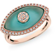 Anne Sisteron  14KT Rose Gold Diamond Blue Topaz Evil Eye Ring ($1,085) ❤ liked on Polyvore featuring jewelry, rings, rose, blue topaz rings, rose ring, rose gold jewellery, diamond rings and red gold ring