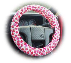 Strawberry suprise pink and red strawberries & apples print Cotton steering wheel cover