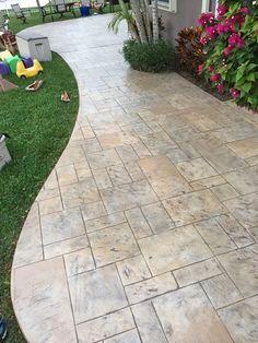 Pool Decking Concrete, Concrete Porch, Cement Patio, Concrete Fireplace, Colored Concrete Patio, Stamped Concrete Designs, Stamped Concrete Driveway, Concrete Patio Designs, Concrete Stamping
