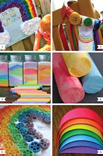 Rainbow Party Ideas For Kids...awesome games & crafts...from Chickabug.  Instructions included.