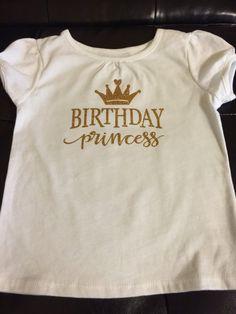 Birthday Princess golden t shirt glitter vinyl by audrinascloset