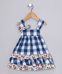 Navy Gingham Swing Dress - Infant