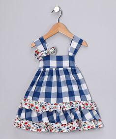 Navy Gingham Swing Dress - Infant