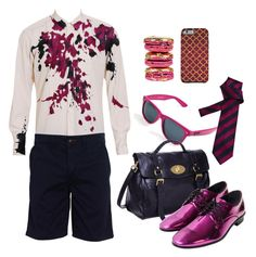 Sparkling Purple by tdwsammy on Polyvore featuring moda, Dries Van Noten, Norse Projects, Mulberry, Racing Green, Ray-Ban and Le Pink  | Polyvore | Outfit | Menswear | Uomo | Collage