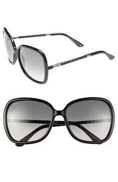 Tod's 58mm Woven Leather Temple Sunglasses available at #Nordstrom
