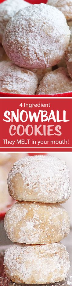 Popular snowball cookies recipe from @choccoveredkt… 4 ingredients, vegan, holiday favorite. Full recipe: https://chocolatecoveredkatie.com/2012/12/30/snowball-cookies-that-melt-in-your-mouth/