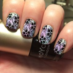 Nail stamping using @moyou_london 'black knight' and pro plate 06 - stamped over @barrymcosmetics 'Matt White' and @opi_products 'don't violet me down' & 'I can teal you like me' #sheertints