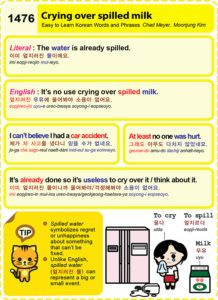 Easy to Learn Korean 1476 – Crying over spilled milk.   Easy to Learn Korean (ETLK)