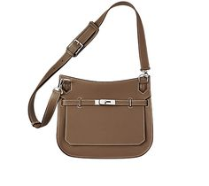 """Jypsière  Hermes unisex shoulder bag  Taupe clemence bullcalf.  11"""" x 8.7"""" x 4.9"""".  Front flap closure with swivel clasp. Adjustable strap with 5 holes and a shoulder pad for comfort. Inside includes front zip pocket, back large pocket with gusset and small pocket for cell phones.  $7,300.00"""