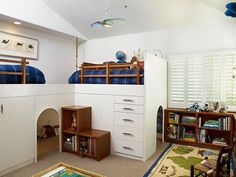 Bunk beds with hang outs underneath