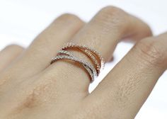 Double Wrapped Diamante Stacking Ring in gold от zizibejewelry