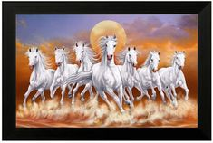 SAF 'Seven Lucky Running Vastu Horses' Painting (Synthetic 35 cm x 50 cm x 2 cm) Seven Horses Painting, Horse Canvas Painting, Large Painting, Painting Frames, Horse Running Drawing, Running Horses, Horse Wallpaper, Horse Wall Art, Animal Paintings