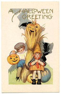 Vintage Halloween Graphic - Cute Kids with Pumpkins - The Graphics Fairy