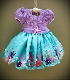Frocks For Girls, Kids Frocks, Little Girl Dresses, Girls Dresses, Mermaid Theme Birthday, First Birthday Party Themes, Girl Birthday, Birthday Fashion, Tutu Outfits