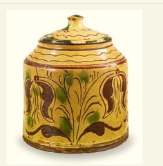 Esmerian Collection. Sotheby's 1/25/14. Lot 504. RARE COVERED GLAZED RED EARTHENWARE JAR WITH SGRAFFITO TULIP DECORATION, POSSIBLY BY CONRAD MUMBOUER (1761-1845) OR JOHN MONDAY (1809-1862) HAYCOCK TOWNSHIP, BUCKS COUNTY, PENNSYLVANIA, 1830-1840 7 1/4 by 6 in. diam. Estimate 30,000 — 40,000 USD.