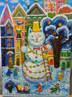 Е.Б. Потякина серия «Сказочные Коты» «Снеговик» х, акрил, 70х50, 2014 из собрания В.И. Шагина