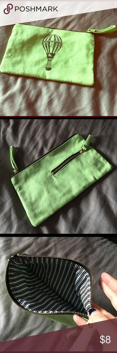 Green canvas clutch Light green canvas clutch with hot air balloon detail and mini back pocket Michaels Bags Clutches & Wristlets