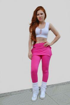 Calça Legging Fitness c Tapa Bumbum de Babados - Cor Coral 198c913a276d2