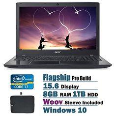 Newest Acer Aspire Flagship High Performance 15.6 HD Display Laptop PC | Intel Core i7-6500U Dual-Core| 2.50 GHz| 8GB RAM| 1TB HDD| DVD/-RW| Bluetooth| WIFI| Ethernet| Windows 10  Laptop Sleeve