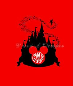 Mickey Mouse Castle Monogram Silhouette by BandLSistersDesigns