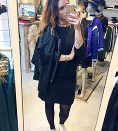 | saturday outfit 📸 |  Love to work on saterday ✔ BLACK DRESS TODAY FROM #modstrom  Love to see you at ☽☾Las Lunas today ?! ~XOXO~ Syl #outfit #today #black #dress #modstrom #jacket #silvianheach #sneakers #zerocentcinq #work #saterday #stylist #styling #fashionblogger #blogger #fashion #boutique #laslunas #krommestraat20 #033 #amersfoort #leukstestraatjevanamersfoort #fashionista