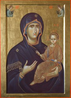 Moeder Gods Hodegetria (Maria Curticapean-Mirea) Orthodox Icons, Byzantine Art, Madona, Ancient, Painting, Art, Madonna And Child, Best Icons