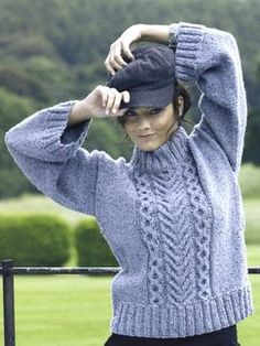 Yarn by Queensland Collection | Knitting Fever - I love the color, the pattern, not too crazy about such huge cuffs at the sleeves, would be hard to stuff into a winter coat.