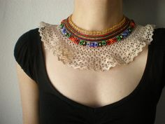 Archidendron Lucyii ... Beaded Crochet Necklace - Cream Lace - Golden Yellow Red Green Blue Beadwork Necklace