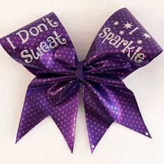 I Don't Sweat I Sparkle Cheer Bow by FromHeadtoBowsbyJenn on Etsy