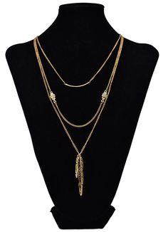 Bohemian Golden Alloy Multilayer Chains Rhinestone Leaves Pendant Necklace Set | eBay