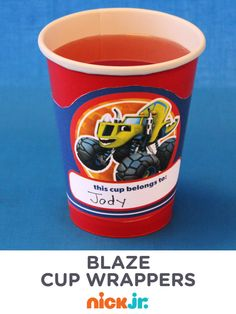Serve your child's party guests healthy drinks in adorable Blaze and the Monster Machines cups with printable wrappersv.