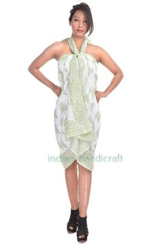 Cotton Hand Print Sarong Beach Pareo Cover Up Dress Swimsuit Wrap Hijab ST3 #VRA #ShawlWrap