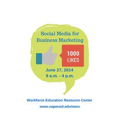 Join us for Social Media for Business Marketing on June 27, 2014 in Hyannis. Learn tips for social media engagement and much more! More details at: http://conta.cc/1joO1Dh