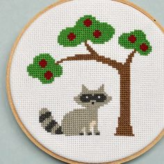 Raccoon & apple tree cross stitch pattern