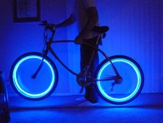 Bicycle + LED lights = awesome look and added safety for night time riding. Simple and fun!
