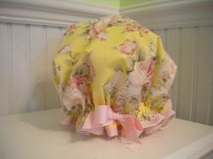 I need a shower cap Mindy Weiss, Plastic Caps, Shower Cap, Custom Shower, Yellow Background, Ribbon Colors, Pink Roses, Baby Car Seats, My Design