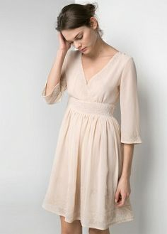 Sukienka z szyfonu z koralikami - Sukienki - kobieta - MANGO