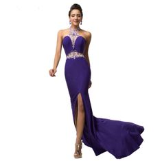 Cheap gown evening, Buy Quality gown dress directly from China gown Suppliers: Grace Karin Halter Backless High Split Sexy Mermaid Evening Dresses Sequins Beadings Long Party Gown Formal Dance Dress 2017 Purple Evening Dress, Mermaid Evening Dresses, Long Party Gowns, Prom Party Dresses, Formal Dance Dresses, Elegant Dresses, First Date Dress, Aliexpress Dresses, Baguette