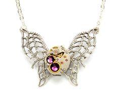Steampunk Necklace Steampunk Butterfly by VictorianCuriosities, $45.00
