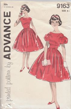 Advance 9163. Size 6s which means subteen. that was before preteen came into use. size on back go up to 14 subteen. Dress and jacket that buttons in back. Gloves again. Back have a v shape. 50 cents.