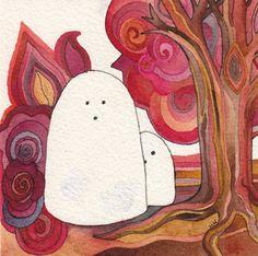 Two Ghosts Halloween Original Watercolor by Megan Noel by meinoel, $25.00