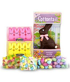 Premium Easter Candy Bundle Assortment features jelly beans, foil-wrapped chocolate eggs, foil-wrapped cookies 'n cream eggs, yellow PEEPS, pink PEEPS and of course A milk chocolate Cottontail Bunny.