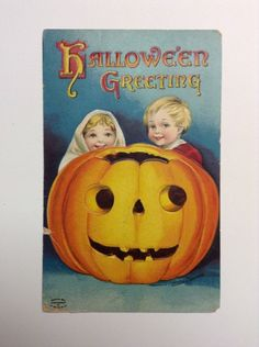 1912 Clapsaddle Artist Signed Halloween Greeting Boy, Girl, Huge Jack O' lantern #Halloween