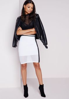 Missguided - Airtex Midi Skirt Monochrome
