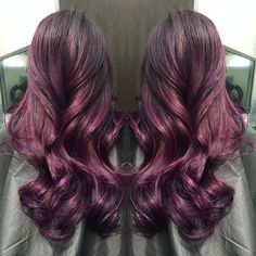 Amazing red purple ombre & balayage hairstyle for dark hair girls