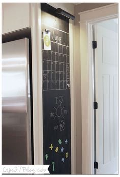 Must have a BIG calendar and pretty accent lighting. Rope light inlay in crown molding frame? Favorite chalkboard wall / light / magnetic /door casings