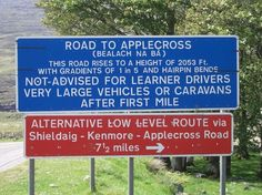 Scotland - Applecross Route - applecross, scotland, roads, road signs, routes omg we went over one in Wyoming that had a signe reading if it had rained in the last week DONT TAKE THIS ROAD. nice to known bad rds are everwhear Best Of Scotland, Scotland Tours, England And Scotland, Scotland Travel, Glasgow, Edinburgh, Wester Ross, North Coast 500, My Father's World