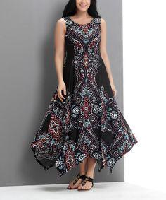 Black Scarf Print Sleeveless Handkerchief Maxi Dress - Plus #zulily #zulilyfinds