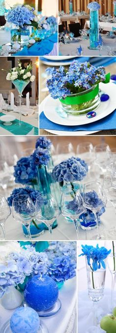Table decoration in turquoise & blue- Tischdeko in Türkis & Blau Wedding decoration turquoise blue - Blue Wedding Decorations, Graduation Decorations, Diy Wedding Flowers, Wedding Colors, Wedding Bouquets, Table Decorations, Trendy Wedding, Rustic Wedding, Unique Weddings